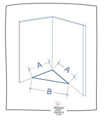 como medir paredes com ângulos
