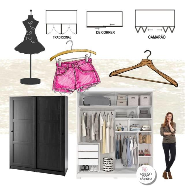 como planejar quartos detalhamento de closets