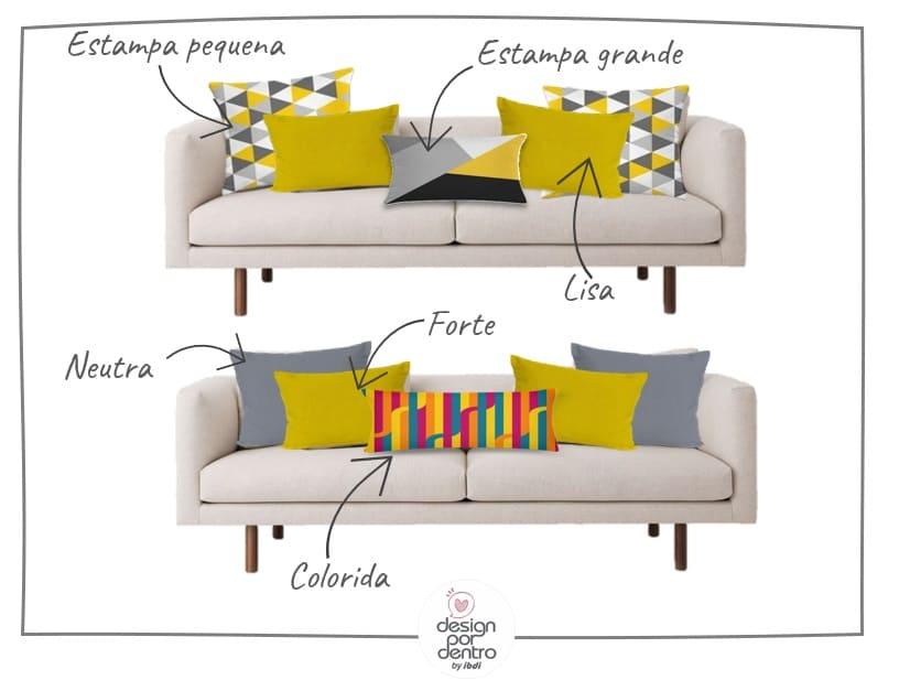 sofá colorido e almofadas