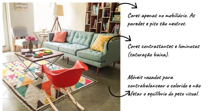 como usar cores contrastantes na decoração